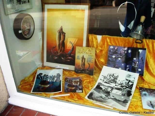 Originalseiten und Cover von Nic Klein,Sven Papenbrock,Vance und Greg im Schaufenster.